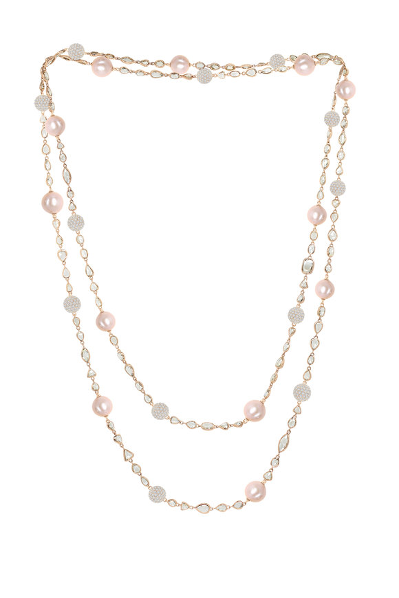 Sutra 18K Rose Gold Pink Sapphire & Pearl Necklace