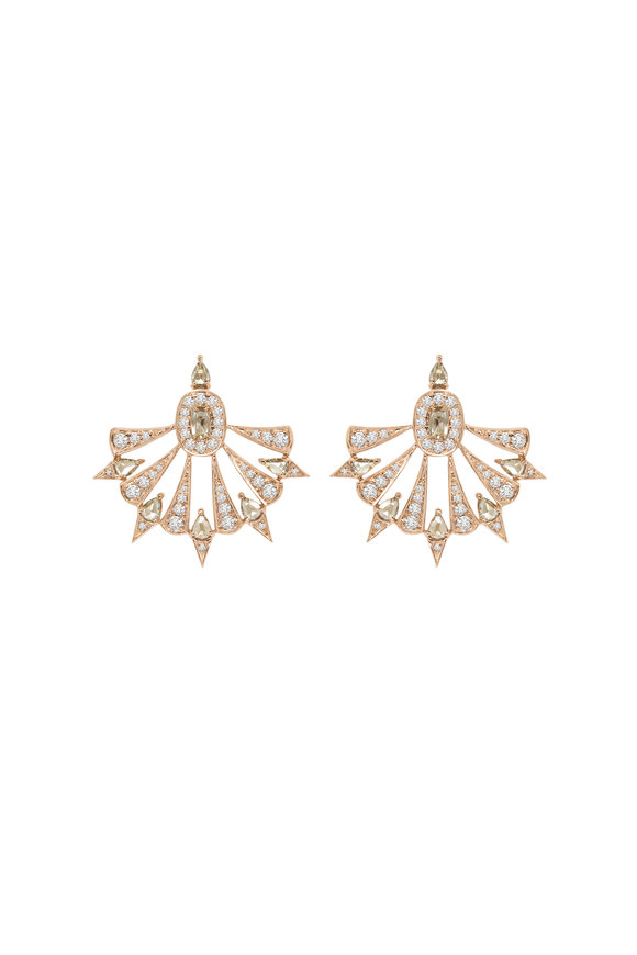 Sutra 18K Rose Gold All Diamond Fan Earrings
