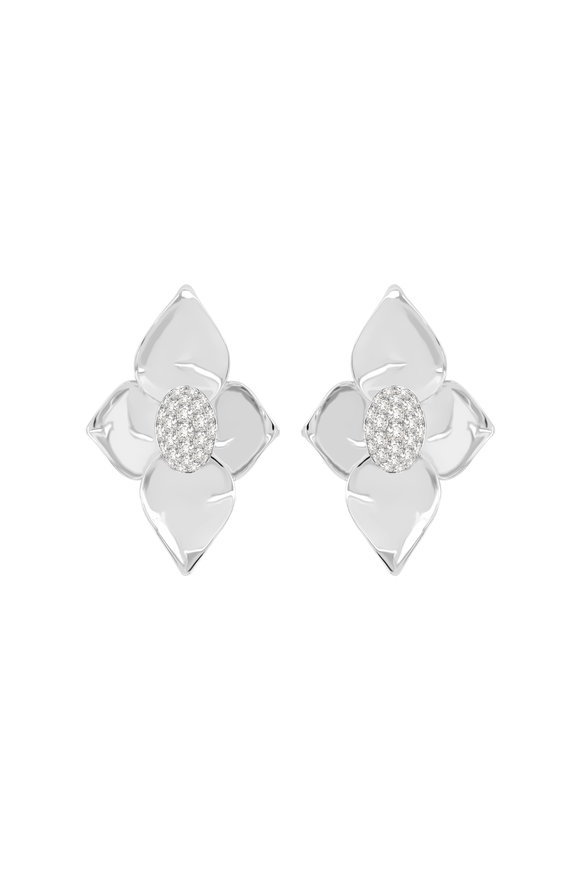 Sutra 18K White Gold Diamond Center Earrings