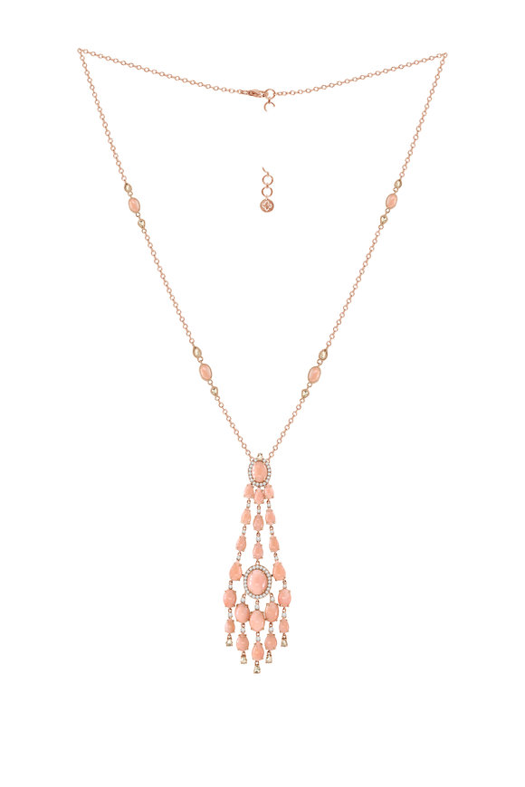 Sutra 18K Rose Gold Pink Opal & Diamond Pendant Necklace