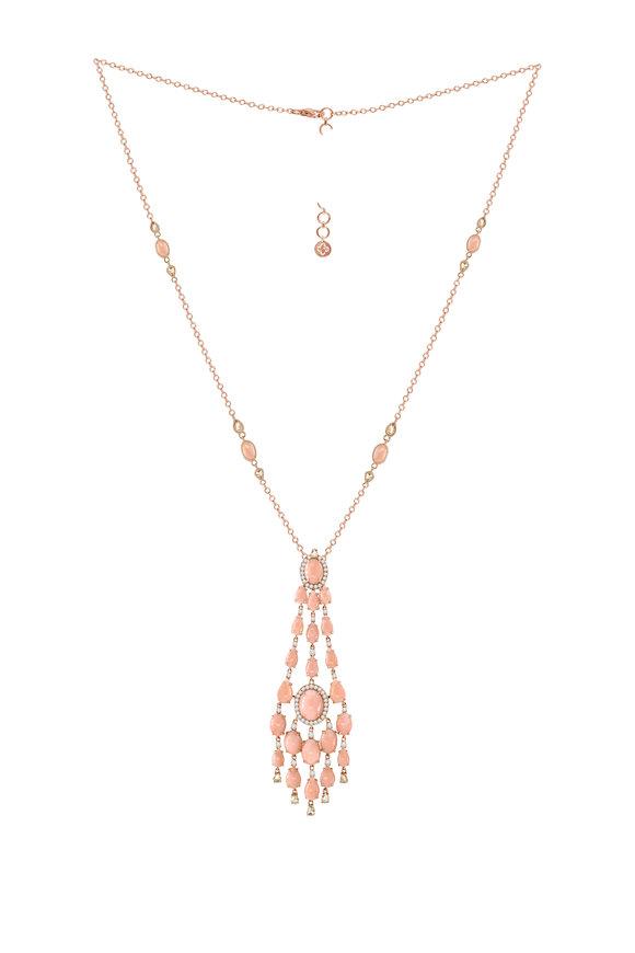 Sutra 18K Rose Gold Pink Opal & Diamond Pendant Necklace