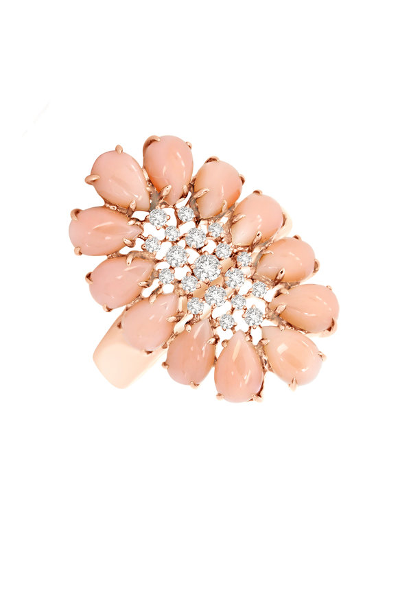 Sutra 18K Rose Gold Pink Opal & Diamond Ring