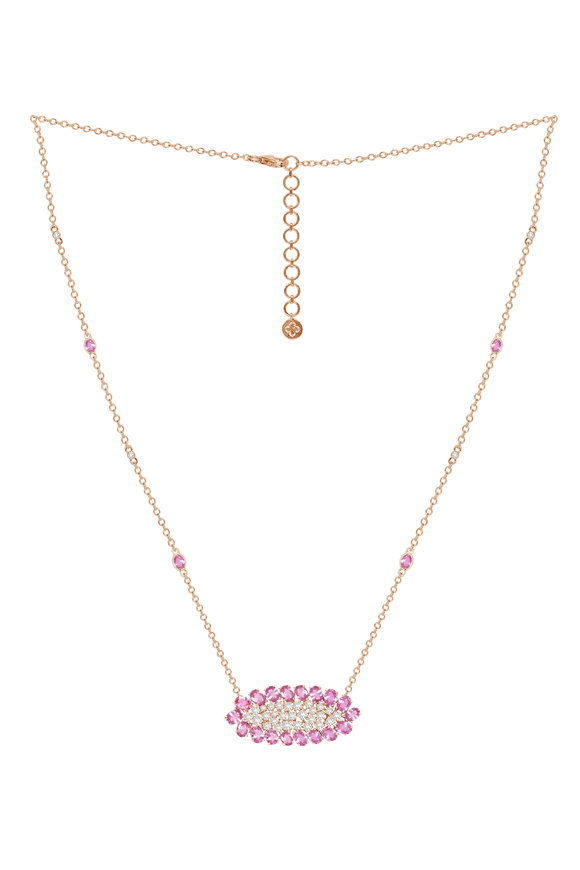 Sutra Rose Gold Pink Sapphire & Diamond Necklace