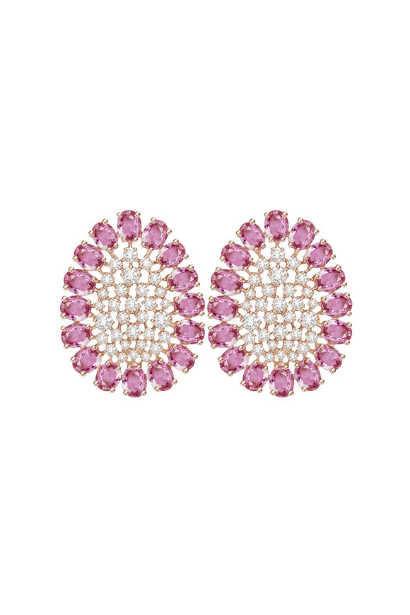 Sutra 18K Rose Gold Pink Sapphire &  Diamond Earrings