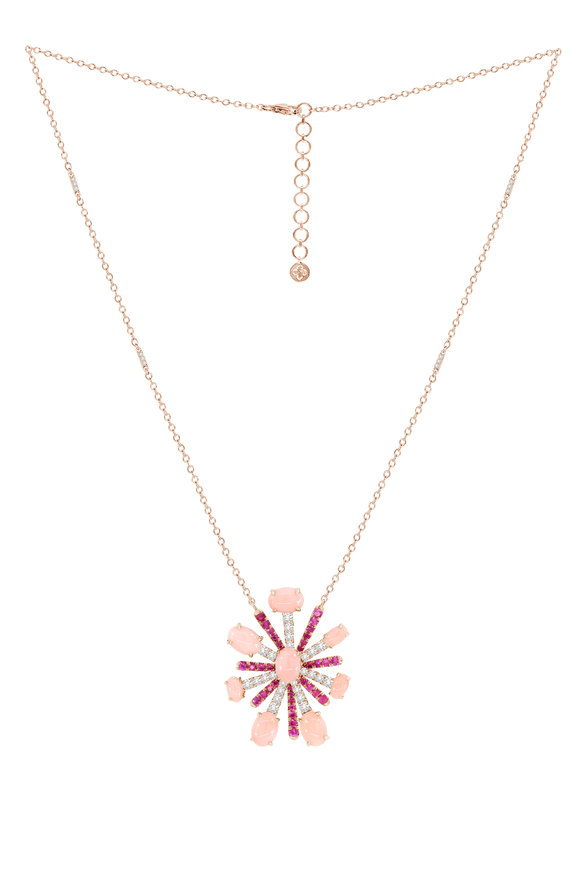 Sutra 18K Rose Gold Pink Sapphire & Diamond Necklace
