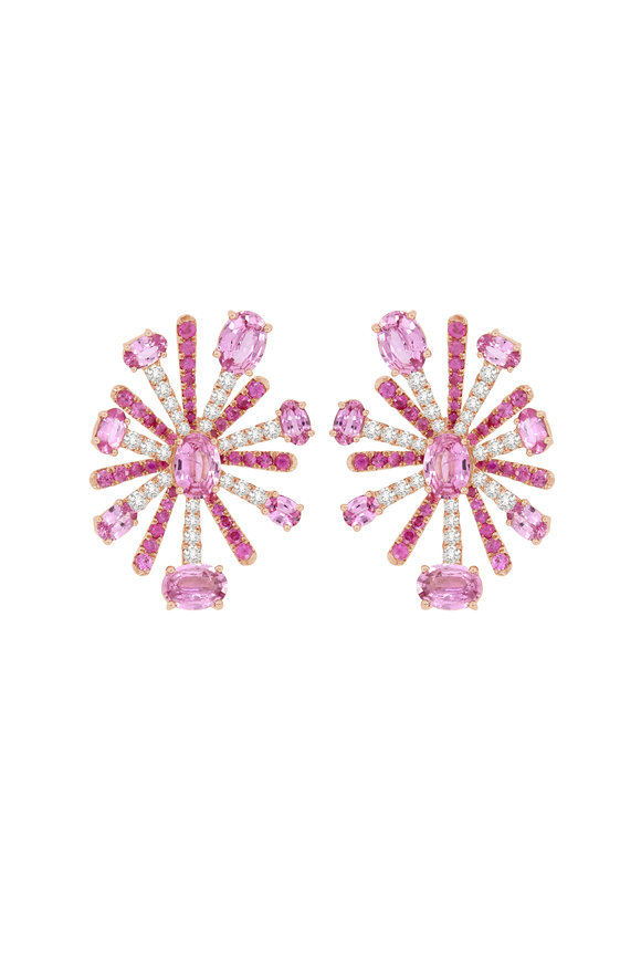 Sutra 18K Rose Gold Pink Sapphire Earrings