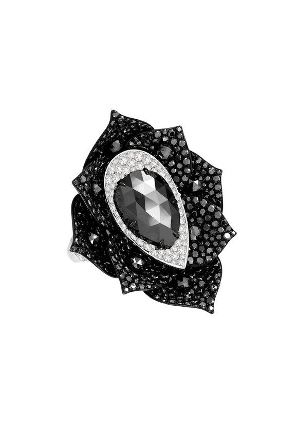 Sutra 18K White Gold Black Diamond Cocktail Ring