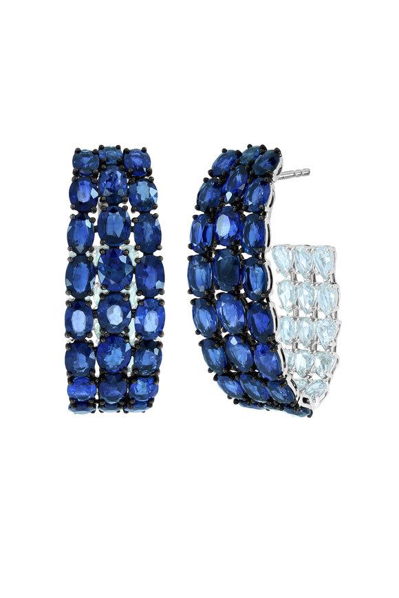 Sutra 18K White Gold Sapphire Full Cut Hoop Earrings