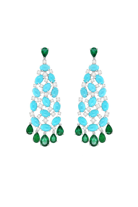 Sutra 18K White Gold Emerald & Turquoise Dangle Earrings