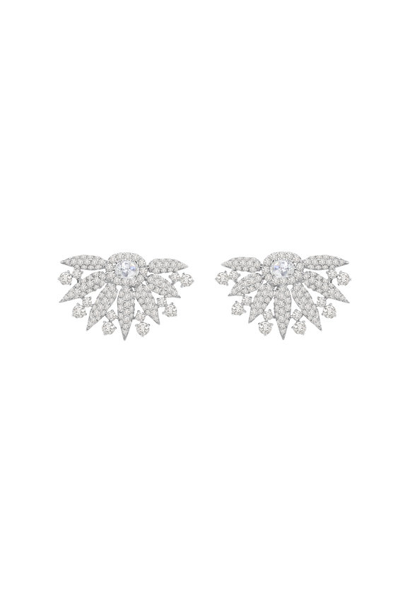 Sutra 18K White Gold Diamond Fan Earrings