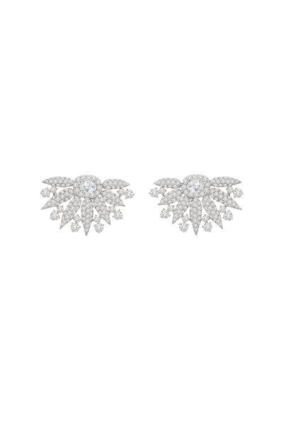 Sutra - 18K White Gold Diamond Fan Earrings