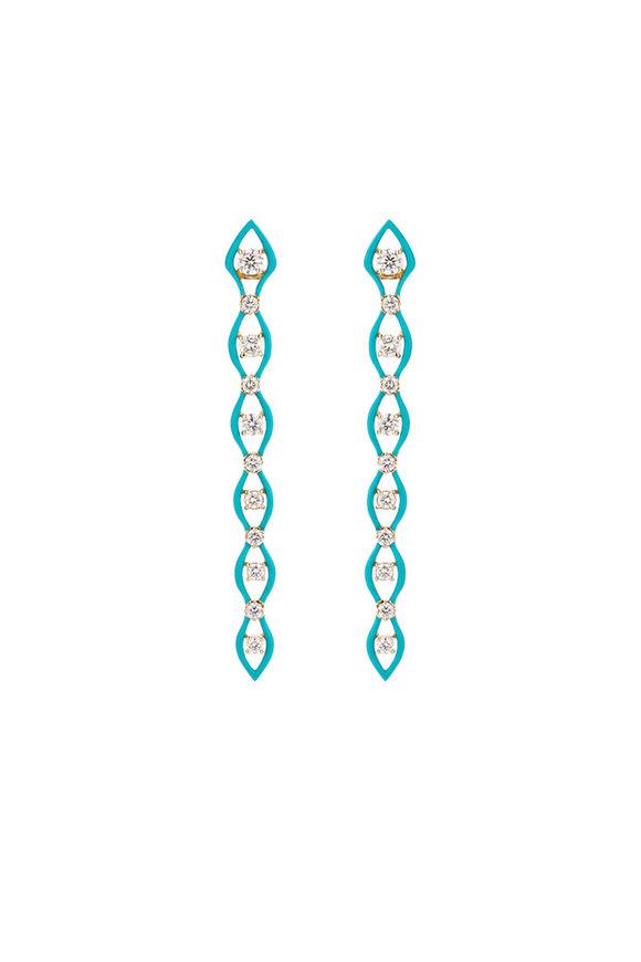 Etho Maria 18K Yellow Gold Enamel & Diamond Drop Earrings