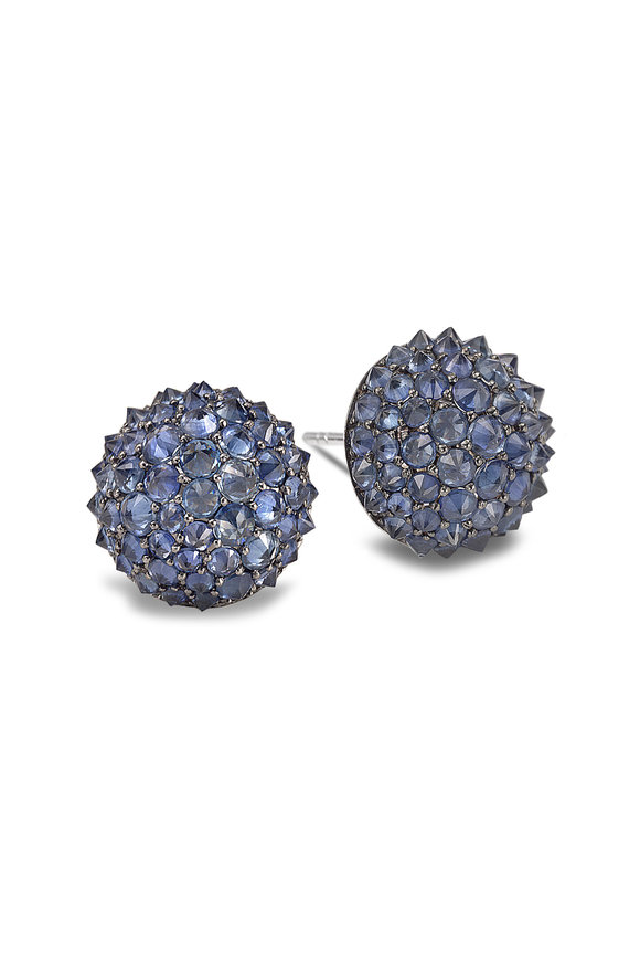Nam Cho 18K White Gold Omega Sapphire Earrings