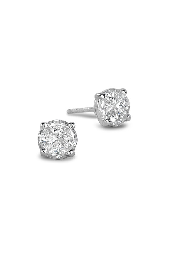 Nam Cho 18K White Gold Invisible Diamond Stud Earrings