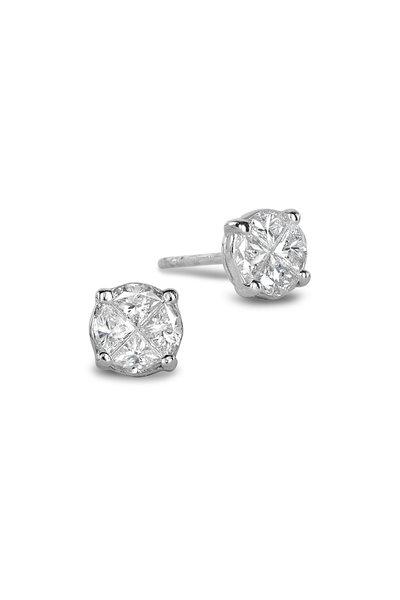 Nam Cho - 18K White Gold Invisible Diamond Stud Earrings