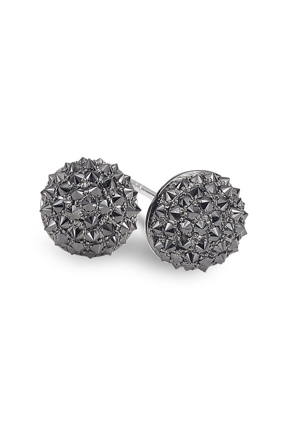 Nam Cho 18K Gold Black Diamond Half Ball Earrings