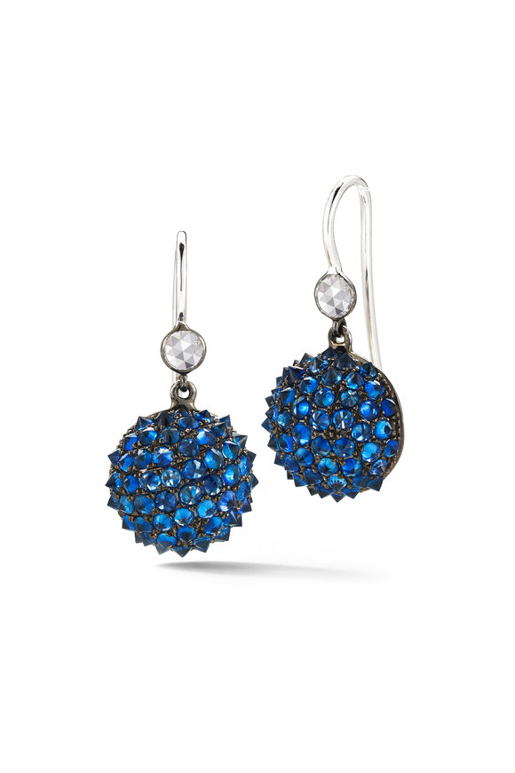 Nam Cho 18K White Gold Sapphire Ball Earrings