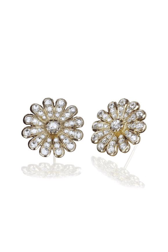 Nam Cho 18K White Gold Diamond Daisy Stud Earrings