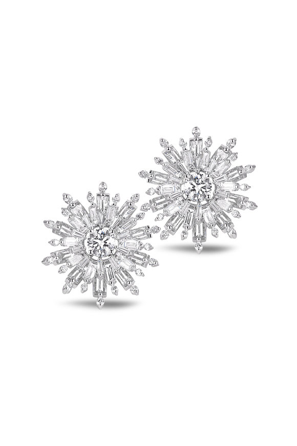 Nam Cho Bageutte Diamond Flower Earrings