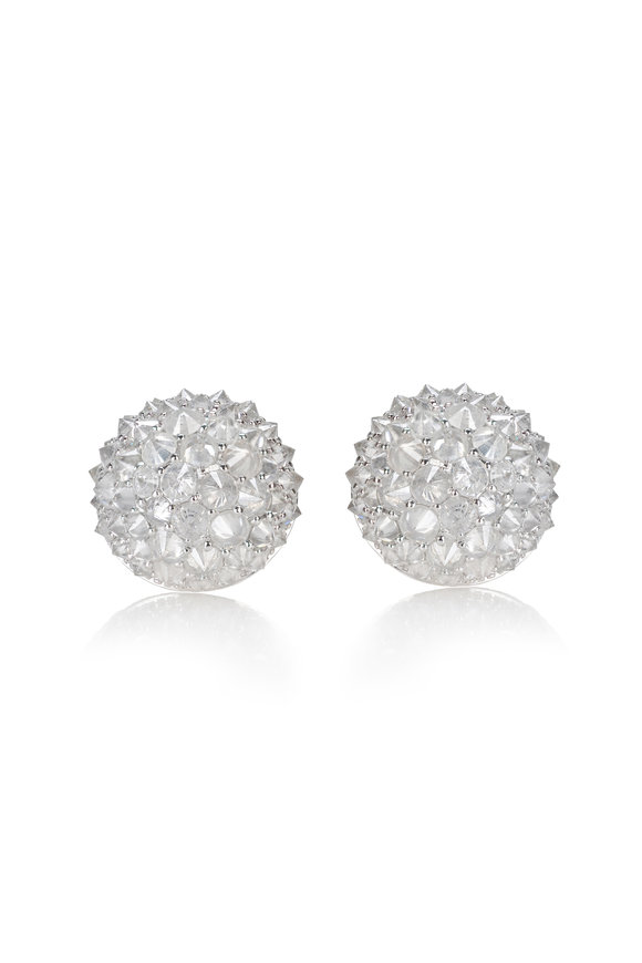 Nam Cho 18K White Gold White Diamond Ball Earrings