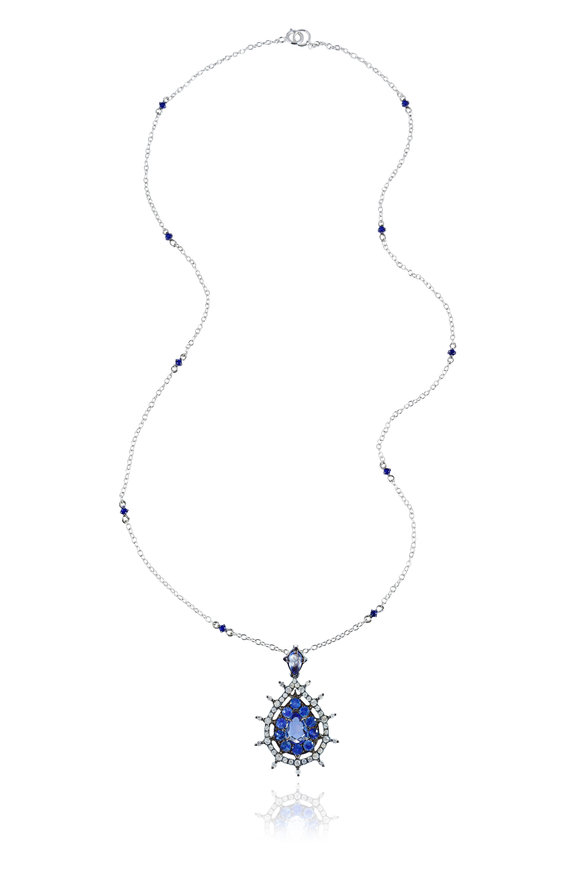 Nam Cho 18K White Gold Sapphire Beaded Necklace