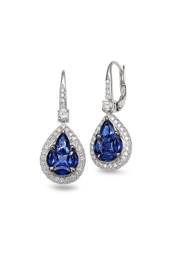 Nam Cho 18K White Gold Sapphire & Diamond Earrings