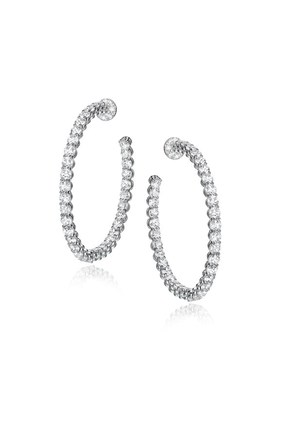 Nam Cho 18K White Gold White Diamond Hoop Earrings