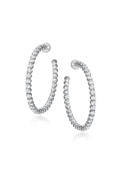 Nam Cho - 18K White Gold White Diamond Hoop Earrings