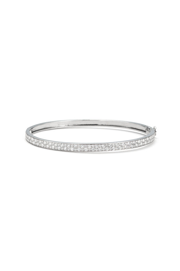 Nam Cho 18K White Gold Full Pavé Bangle