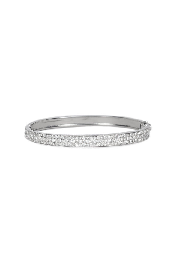 Nam Cho 18K White Gold Modern Pavé Bangle