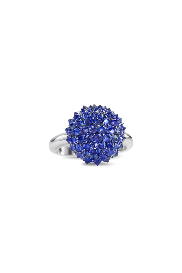 Nam Cho 19K White Gold Blue Sapphire Medium Ball Ring