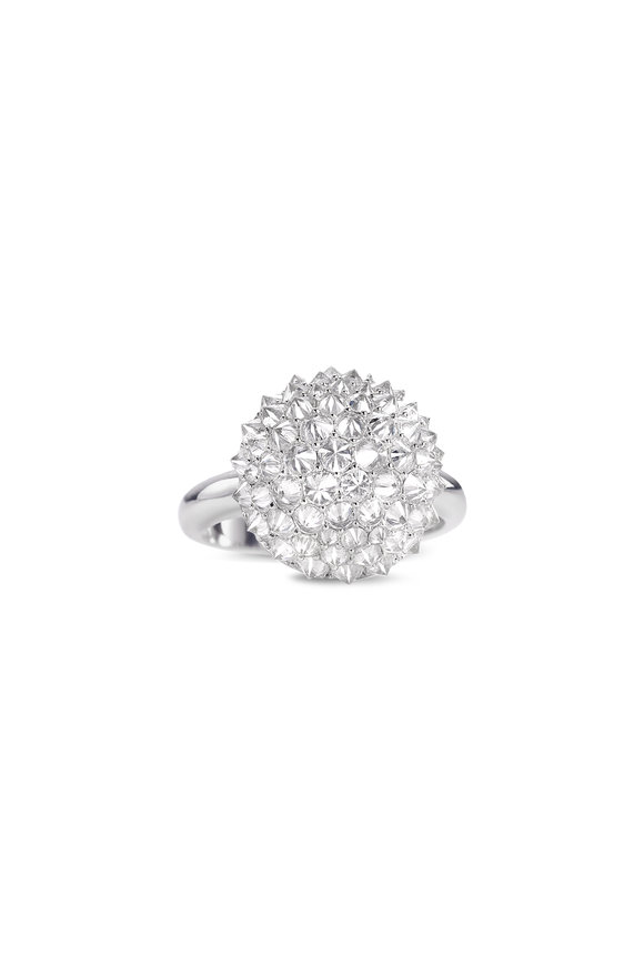Nam Cho 18K White Gold Diamond Ball Ring