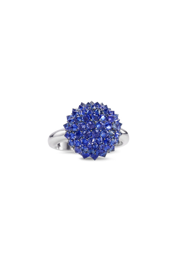 Nam Cho 18K White Gold Blue Sapphire Ball Ring