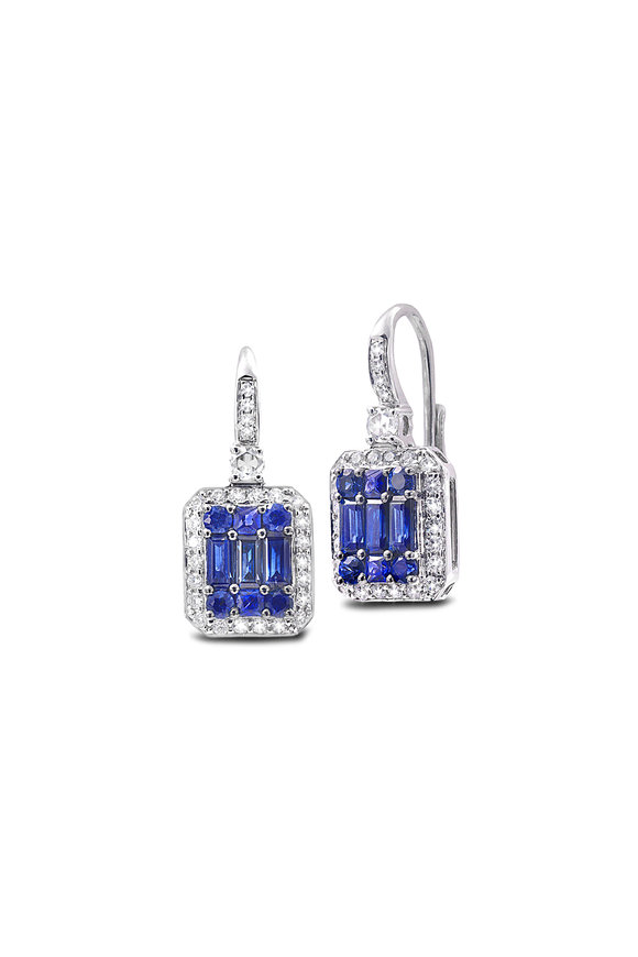 Nam Cho 18K White Gold Invisible Octagon Sapphire Earrings