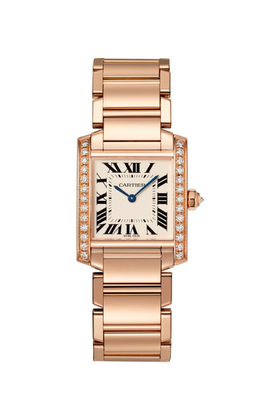 Cartier - 18K Pink Gold Pave Tank Francaise Watch, Medium