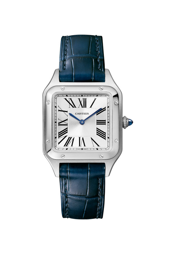Cartier Santos-Dumont Steel & Leather Quartz Watch, Small