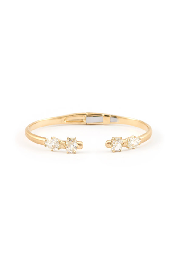 Sylva & Cie 18K Yellow Gold Mixed Shape Diamond Bangle