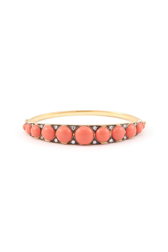 Sylva & Cie 18K Yellow Gold Coral Button Cuff