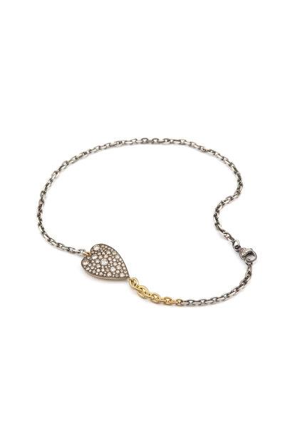 Sylva & Cie - 18K Yellow Gold Diamond Ten Table Heart Bracelet