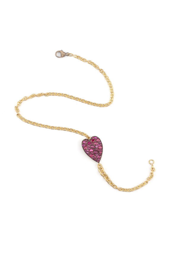 Sylva & Cie 18K Yellow Gold Ruby Heart Ten Table Bracelet