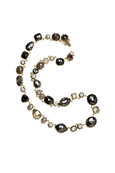 Sylva & Cie - Collet Gray & Rough Cut Diamond Necklace