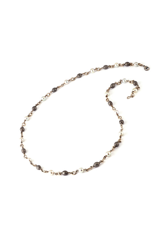 Sylva & Cie 18K Gold & Silver Diamond Link Bead Necklace