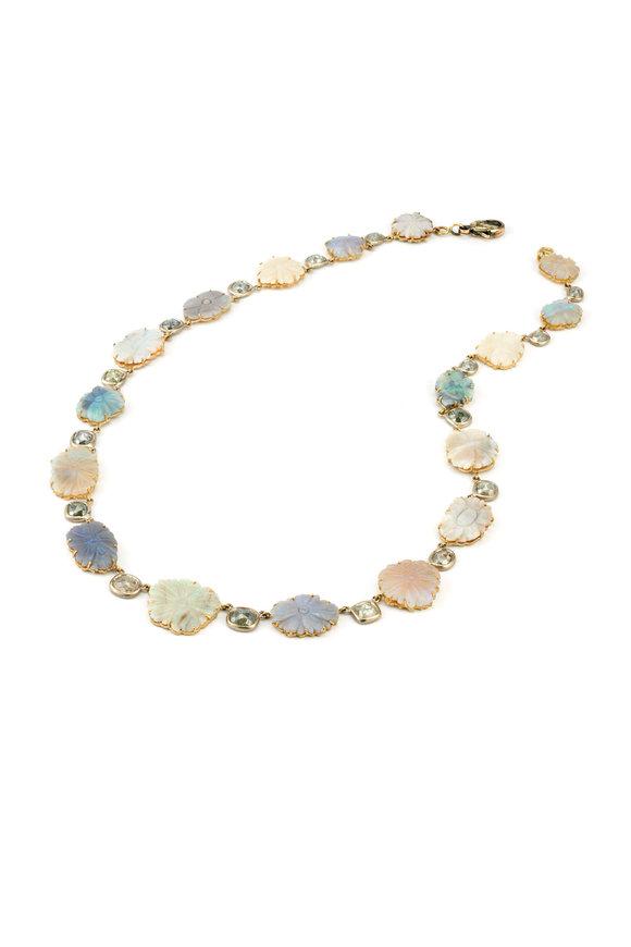 Sylva & Cie 18K Yellow Gold Opal Flower Necklace