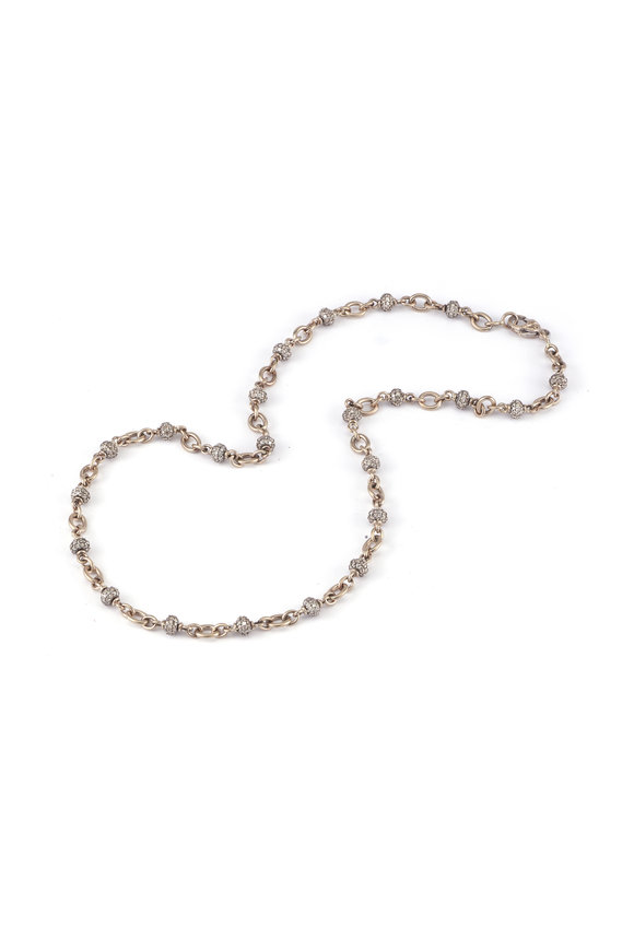 Sylva & Cie 18K White Gold Diamond Bead Necklace