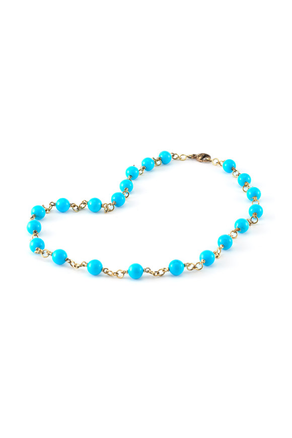 Sylva & Cie 18K Yellow Gold Sleeping Beauty Turquoise Necklace