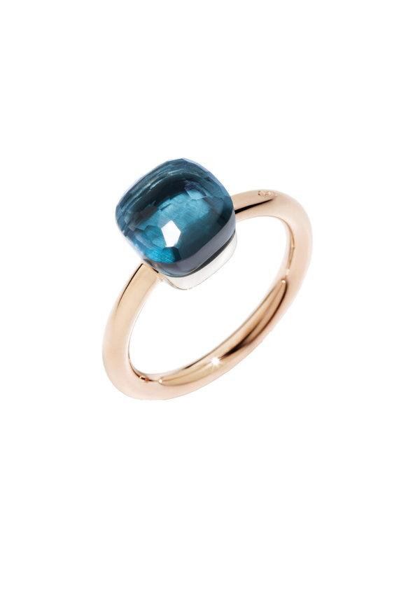 Pomellato 18K Rose Gold Nudo Blue Topaz Ring