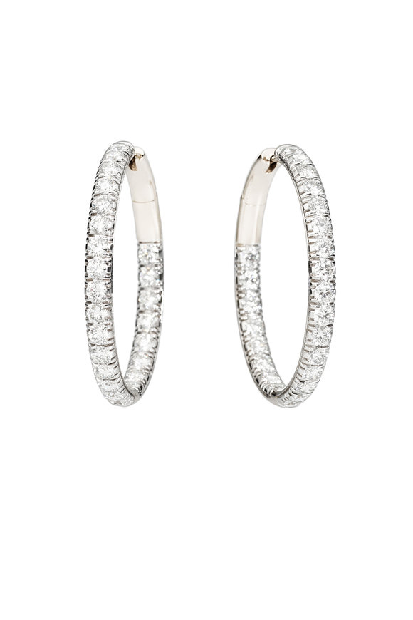 Pomellato 18K White Gold Tango Diamond Hoop Earrings