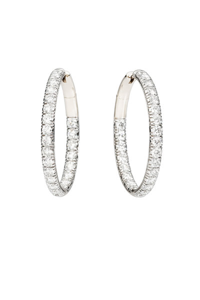 Pomellato - 18K White Gold Tango Diamond Hoop Earrings