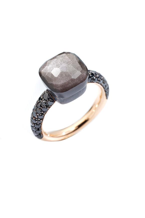 Pomellato 18K Rose Gold Nudo Obsidian & Black Diamond Ring