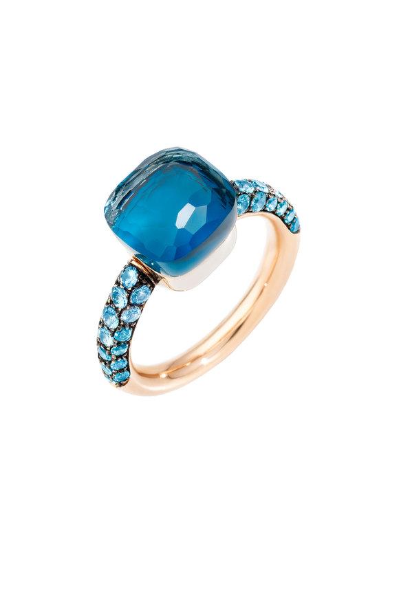 Pomellato 18K Rose Gold Nudo Light Blue & Turquoise Ring